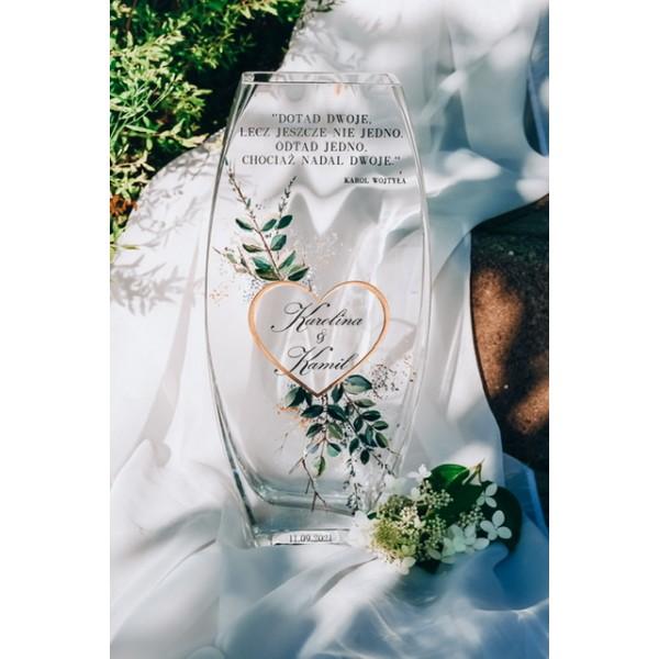 Wazon ślubny ręcznie malowany z Twoim tekstem