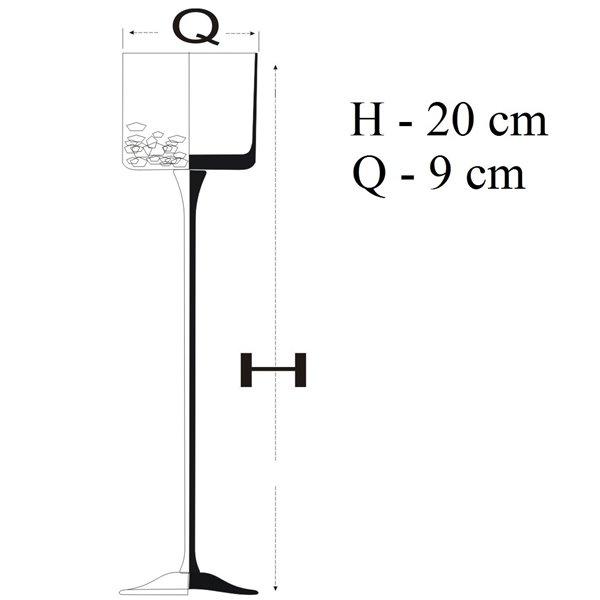 Świecznik na nóżce z efektem popękanego szkła - krakla 6 wysokości