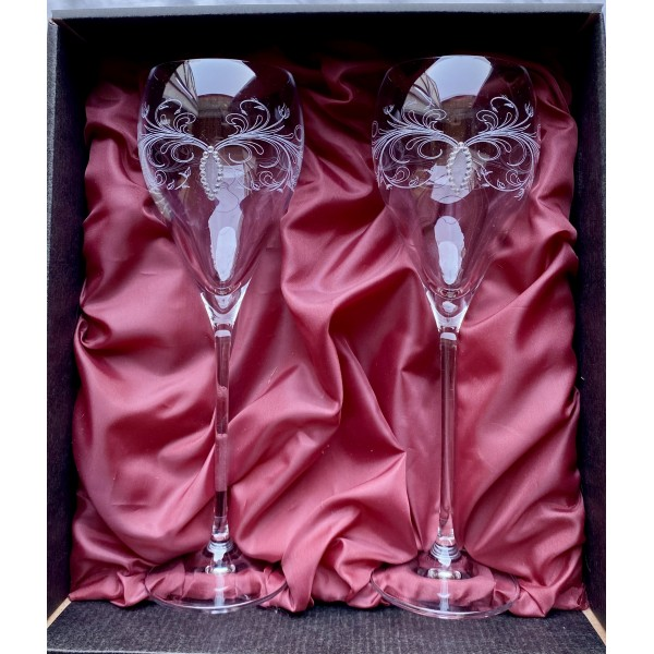 Zestaw prezentowy - zdobione kieliszki do czerwonego wina