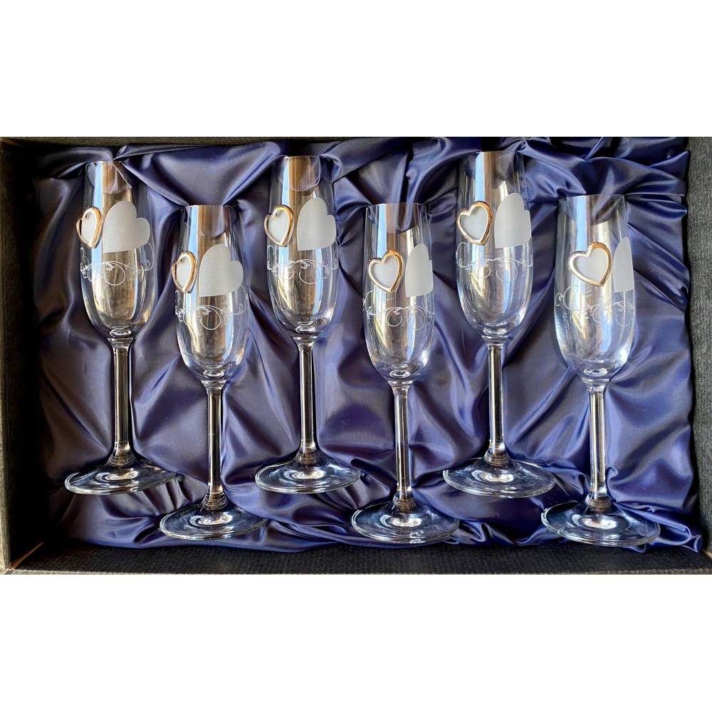 Zestaw 6 ozdobnych kieliszków do szampana