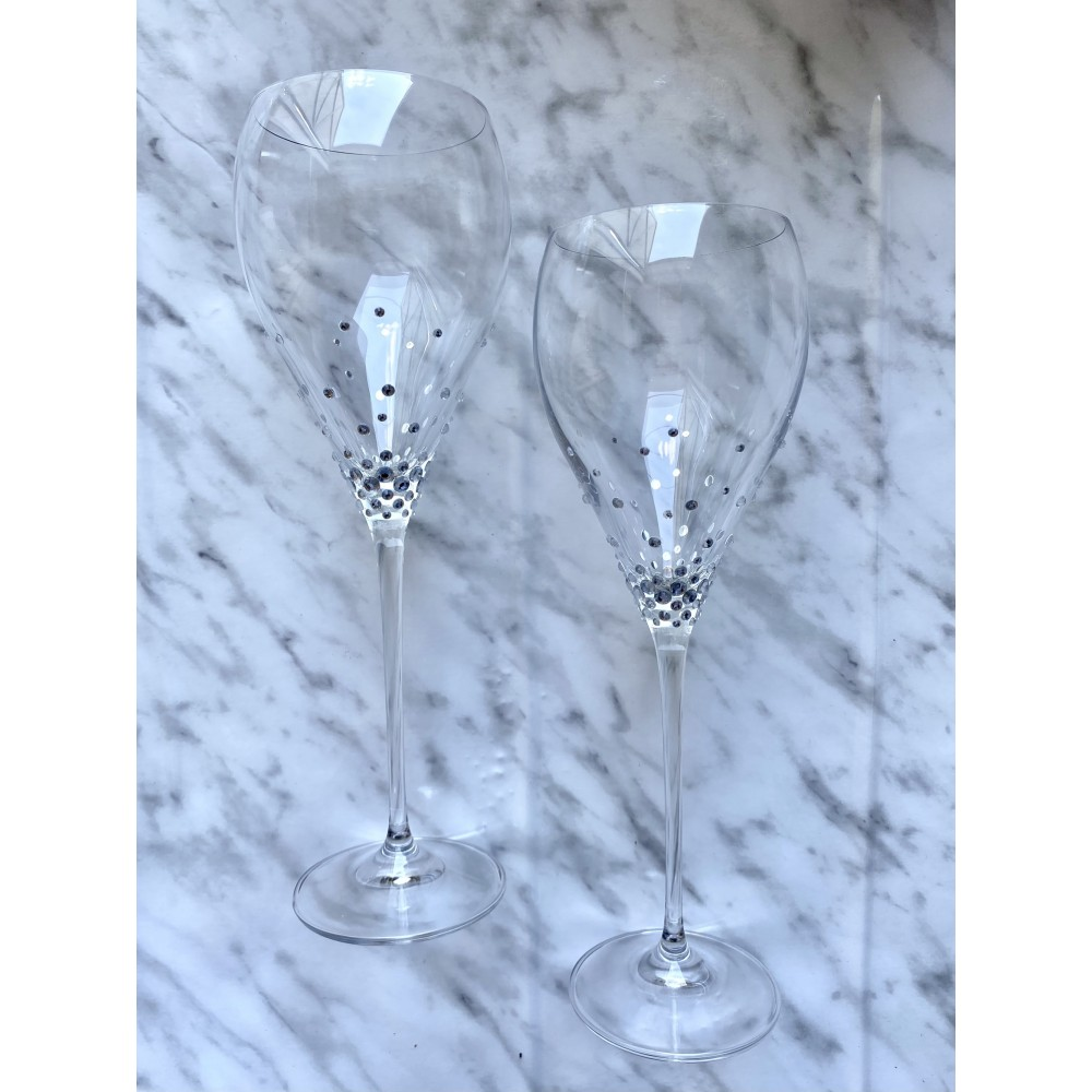 Zestaw kieliszków do wina z kryształkami - 2 szt. w ozdobnym opakowaniu